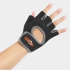 Unisex halve vinger handschoenen Outdoors paardrijden antislip-ademende sport handschoenen  grootte: S  Plamar: 16*12*3.0cm(Black)