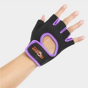 Unisex halve vinger handschoenen Outdoors paardrijden antislip-ademende sport handschoenen  grootte: S  Plamar: 16*12*3.0cm(Purple)