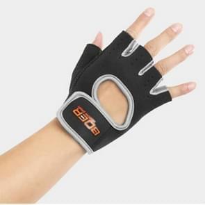 Unisex halve vinger handschoenen Outdoors paardrijden antislip-ademende sport handschoenen  grootte: L  Plamar: 22*18*3.0cm(Grey)