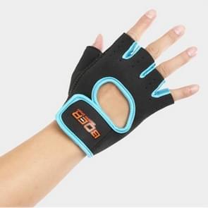 Unisex halve vinger handschoenen Outdoors paardrijden antislip-ademende sport handschoenen  grootte: L  Plamar: 22*18*3.0cm(Blue)