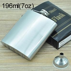 196mL (7oz) Outdoor Sports Handy Home Travel Wild Stainless Steel Portable Hip Flask(with Small Funnel)(Silver 196mL (7oz))