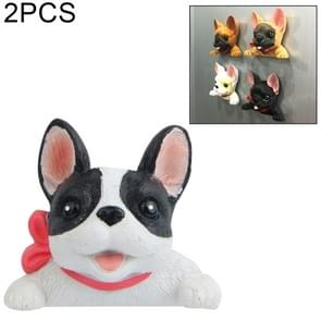 2 PCS Home Decoration Originality French Bulldog Tie 3D Magnetic Buckle Fridge Paste