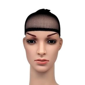 5 stuks hoge elastische zijden sokken nep haar netto pruik Liner Caps haarband Mesh  A(Black)