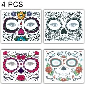 4 PCS Halloween Waterproof Temporary Face Tattoo Stickers, Size: 150*125mm, Random Style Delivery