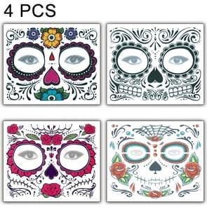 4 PC's Halloween waterdicht tijdelijke gezicht Tattoo Stickers  grootte: 150 * 125mm  willekeurige stijl-levering