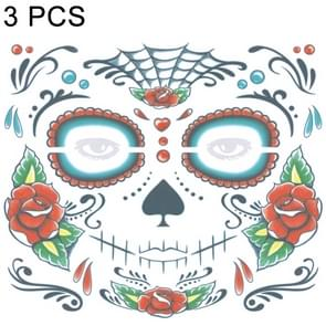 3 PCS Halloween Waterproof Temporary Face Tattoo Stickers, Size: 240*210mm