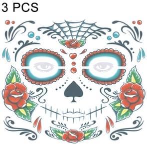 3 PC's Halloween waterdicht tijdelijke gezicht Tattoo Stickers  grootte: 240 * 210mm