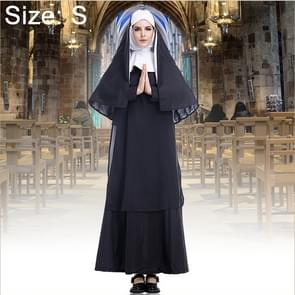 Halloween Costume Women Nun Missionary Cosplay Clothing, Size:S, Bust:92cm, Dress Length:138cm, Shoulder Width:38cm
