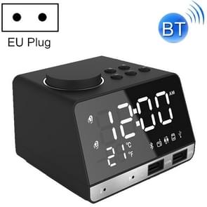 K11 Bluetooth Alarm Clock Speaker Creative Digital Music Clock Display Radio with Dual USB Interface, Support U Disk / TF Card / FM / AUX, EU Plug(Black)