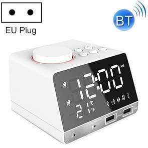 K11 Bluetooth Alarm Clock Speaker Creative Digital Music Clock Display Radio with Dual USB Interface, Support U Disk / TF Card / FM / AUX, EU Plug(White)