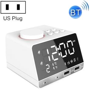 K11 Bluetooth Alarm Clock Speaker Creative Digital Music Clock Display Radio with Dual USB Interface, Support U Disk / TF Card / FM / AUX, US Plug(White)