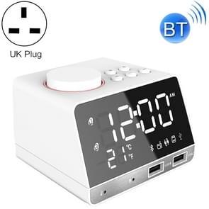 K11 Bluetooth Alarm Clock Speaker Creative Digital Music Clock Display Radio with Dual USB Interface, Support U Disk / TF Card / FM / AUX, UK Plug(White)