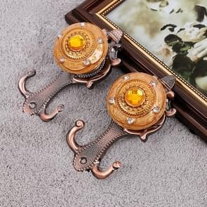 2 PC's Vintage Crystal Double Barb gordijn decoratieve muur Hook(Bronze)