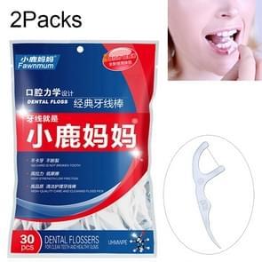 2 Packs Fawnmum Ultra-fine Safety Dental Floss Stick Toothpick Thread Portable Dental Floss Bag