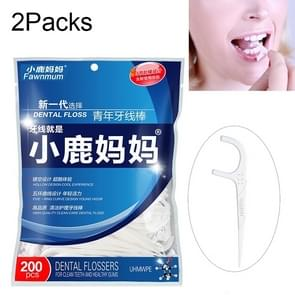 2 Packs Fawnmum Ultra-fine Safety Flat Dental Floss Rod Arch Pick Toothpick Thread Portable Dental Floss Bag