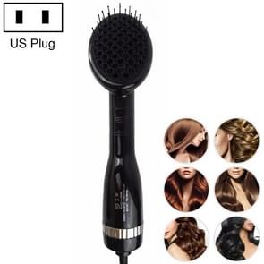 2 in 1 Multifunctional Electric Hair Dryer,Dry and Wet Negative Ion Straight Hair Comb, US Plug (Black)