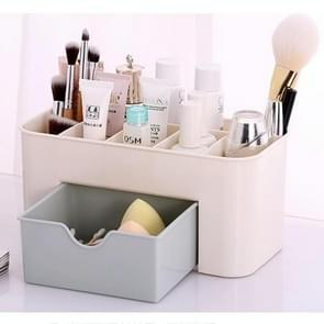 Multi-function Sub Format Desktop Cosmetics Tableware Organize Debris Storage Box Container Holder with Drawer(Light Blue)