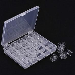 Transparent Plastic Bobbin Sewing Machine Spool Bobbin Box with 25 Bobbins (Transparent)