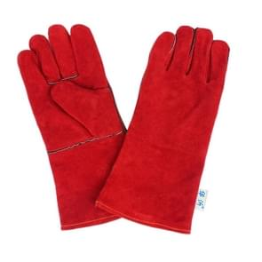 246# Wear-Resistant Full Two-layer Leather Insulation Gloves High Temperature Welding Welder Gloves Leather Work Protection, Size: 34*16cm