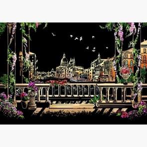 DIY tekening Picture wandschildering kraskaart gouden nacht weergave verf Arts papier handgeschilderde huisdecoratie creatieve hand gemaakte giften  grootte: 40 5 * 28 5 cm