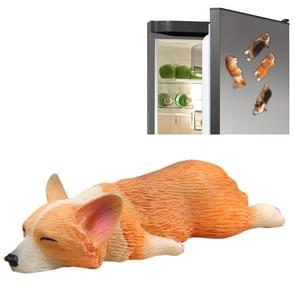 Home Decoration Lovely Rrunk on Sleep Corgi 3D Magnetic Buckle Fridge Paste