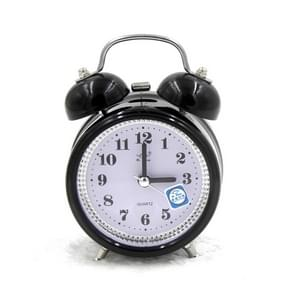 Fashion Mute Metal Alarm Clock with Night Light, Size: 12*8.5cm(Black)