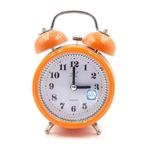 Fashion Mute Metal Alarm Clock with Night Light, Size: 12*8.5cm(Orange)