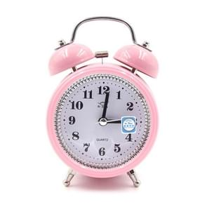 Fashion Mute Metal Alarm Clock with Night Light, Size: 12*8.5cm(Pink)