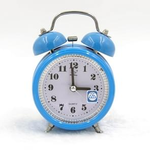 Fashion Mute Metal Alarm Clock with Night Light, Size: 12*8.5cm(Blue)