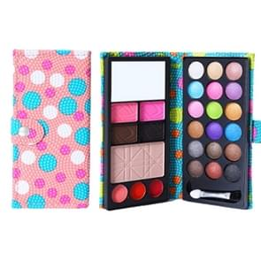 26 Colors Makeup 18 Colors Anti-blooming Eye Shadow Makeup Palette + Blush Pressed Powder Frozen Lipstick Eyebrow Powder with Mirror & Brush, Wallet Case Style Set(Pink)