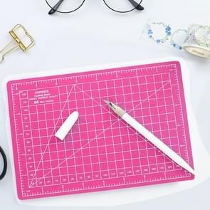 Junesix A5 Cutting Mat Set Cutting Mat & Ruler & Carving Knife (Pink)