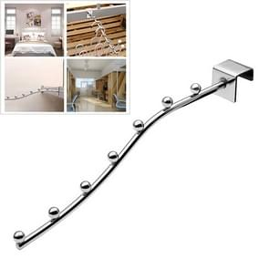 20 PCS Square Pipe Metal Hook with 7 Beads for Supermarket Clothes Shop Dormitory, Length: 30cm