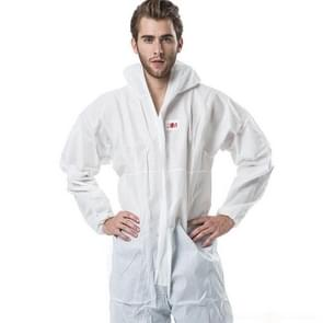 3M 4515 One-piece White Anti-static Anti-chemical Dustproof Sandblasting Suit with Cap, Size: L