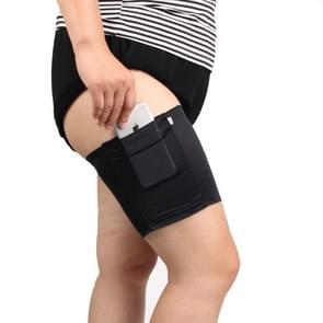Vrouwen effen kleur siliconen of niet-wegglijdende dij sok Anti schuren elastische banden met kaart gsm zak  grootte: 50-55cm (zwart)