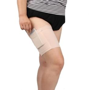Women Solid Color Silicone Antiskid Non-slip Thigh Sock Anti Chafing Elastic Bands with Card Mobile Phone Bag, Size: 60-68cm(Flesh Color)