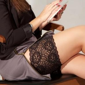 Mode dames grote Lace siliconen antislip Leg Shaper Bands elastische dij sokken Cover  grootte: 66-78cm (zwart)