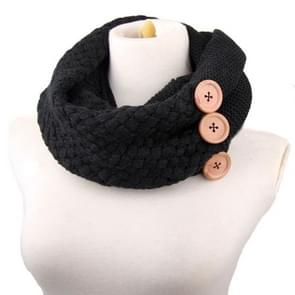 Winter Round Buttons Gaiter Scarf Women Thick Warm Wool Knitted Scarves Collar (Black)