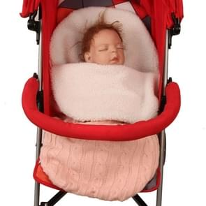 Thick Baby Swaddle Wrap Knit Envelope Sleeping Bag Newborn Infant Warm Bands Indoor Infant Stroller Sleeping Bag (Pink)