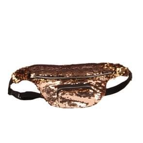 Pailletten taille tas dubbel kleur make-up tas zeemeermin portemonnees borst Pack vrouwen meisje reizen gsm zak (mokka goud)