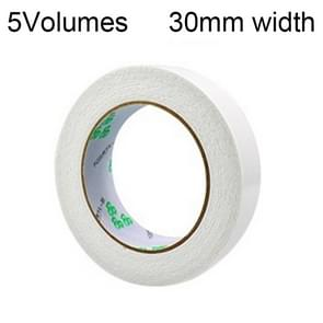 5 Volumes 2mm Thickness Strong White Sponge Double-sided Tape Foam Tape, Size: 5m x 30mm