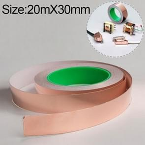 Pure Copper Double-sided Conductive Copper Foil Tape Signal Masking Tape, Size: 20m x 30mm