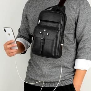 Universal Fashion Casual Outdoor Men Shoulder Messenger Bags Retro Men Waist Bag with Charging Port, Size: S (26cm x 17cm x 5.5cm)(Black)