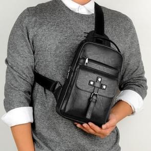 Universal Fashion Casual Outdoor Men Shoulder Messenger Bags Retro Men Waist Bag, Size: S (26cm x 17cm x 5.5cm)(Black)