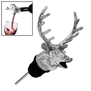 Deer Head Shape Wine Pouring Machine Wine Mouth Red Wine Bottle Stopper,Size:11.8x7.7cm(Silver)