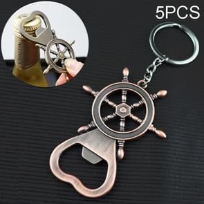 5 PCS Multi-functional Key Chain Rudder Bottle Opener ,Size:8x5.5cm(Amber)