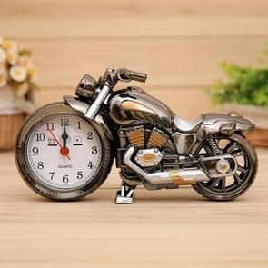 Cartoon Motorcycle Alarm Clock Bedroom Plastic Pointer Alarm Clock, Size: 23*13*6cm(Black, Gold)