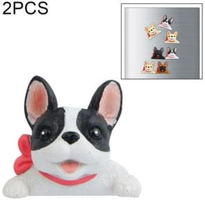 2 PCS Home Decoration Originality French Bulldog Tie 3D Fridge Paste, NO Magnetic