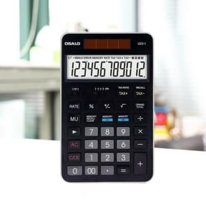 OSALO CEO-1 12 Digits LCD Display Multi-functional Student Scientific Calculator Solar Energy Dual Power Calculator (Black)