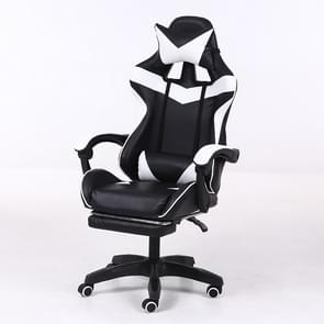 Computer Office Chair Home Gaming Chair Lifted Rotating Lounge Chair with Footrest / Aluminum Alloy Feet (Black)