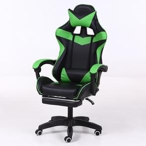 Computer Office Chair Home Gaming Chair Lifted Rotating Lounge Chair with Footrest / Aluminum Alloy Feet (Green)